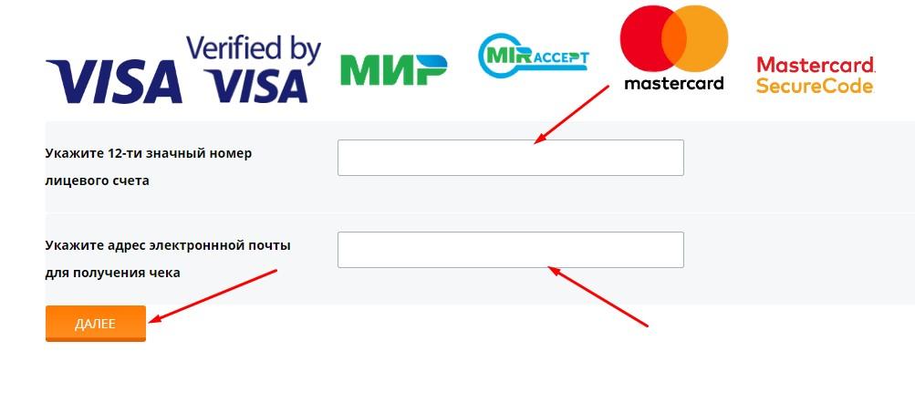 Оплата с карты заполните форму